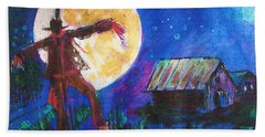 Scarecrow Dancing With The Moon Beach Sheet by Seth Weaver