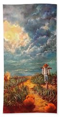 Scarecrow, Moon, Pumpkins And Mystery Beach Towel