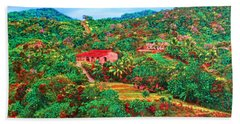Beach Towel featuring the painting Scene From Mahogony Bay Honduras by Deborah Boyd