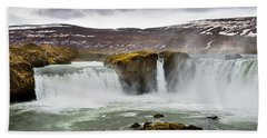 Scenic View Of Godafoss Waterfall Beach Towel