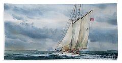 Schooner Adventuress Beach Towel by James Williamson