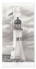 Beach Sheet featuring the drawing Scituate Light by Donna Basile