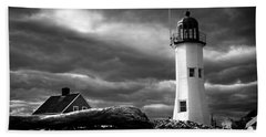 Scituate Lighthouse Under A Stormy Sky Beach Towel by Jeff Folger