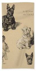 Scotch Terrier And White Westie Beach Towel