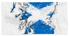 Scotland Painted Flag Map Beach Towel by Antony McAulay