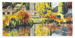 Beach Sheet featuring the painting Scotney Castle Ruins Kent England by Carol Wisniewski