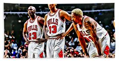 Scottie Pippen With Michael Jordan And Dennis Rodman Beach Sheet