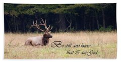 Scripture Photo With Elk Sitting Beach Sheet