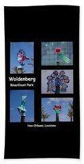 Sculptures In Woldenberg Riverfront Park Beach Towel