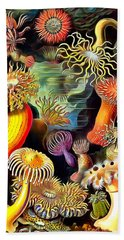 Beach Towel featuring the painting Sea Anemones by Ernst Haeckel