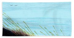 Beach Towel featuring the drawing Sea Oats In The Wind Drawing by D Hackett