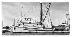 Purse Seiner Sea Queen Monterey Harbor California Fishing Boat Purse Seiner Beach Towel
