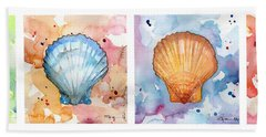 Sea Shells In Contrast Beach Towel