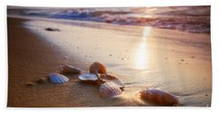 Sea Shells On Sand Beach Towel by Michal Bednarek