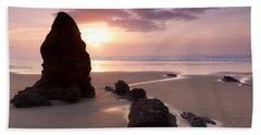Sea Stack Sunset Beach Towel