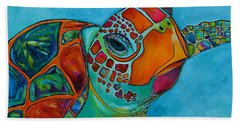 Beach Towel featuring the painting Seaglass Sea Turtle by Patti Schermerhorn