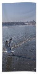 Seagull 1 Beach Towel by Robert Nickologianis