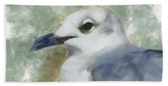 Beach Towel featuring the painting Seagull Closeup by Greg Collins