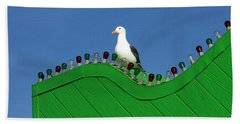 Beach Towel featuring the photograph Seagull In Lights by Art Block Collections