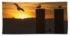 Seagull In The Sunset Beach Towel by Chevy Fleet