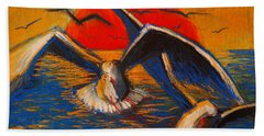 Seagulls At Sunset Beach Towel by Mona Edulesco