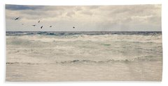 Seagulls Take Flight Over The Sea Beach Sheet