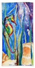 Seahorse And Shells Beach Sheet by Carlin Blahnik