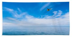 Seaplane Over Lake Superior   Beach Towel