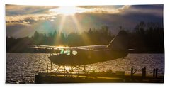 Seaplane Sunset Beach Towel