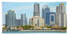 Seaport Village And Downtown San Diego Buildings Beach Towel by Claudia Ellis