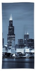 Beach Towel featuring the photograph Sears Tower In Blue by Sebastian Musial