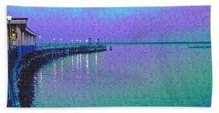 Painterly Seascape Purple Flurry Beach Sheet by Carol F Austin
