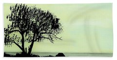 Beach Towel featuring the drawing Seashore Silhouette by D Hackett