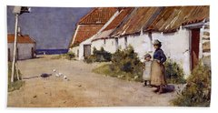 Seaside Cottages With Dovecot Beach Towel by Edward Arthur Walton