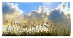 Seaside Grass And Clouds Beach Towel
