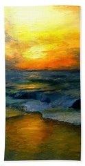 Seaside Sunset Beach Towel by Gail Kirtz