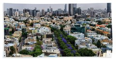 Beach Towel featuring the photograph season change at Rothschild boulevard  by Ron Shoshani