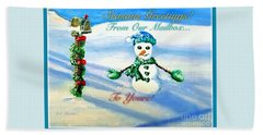 Seasons Greetings From Our Mailbox To Yours Beach Sheet by Kimberlee Baxter
