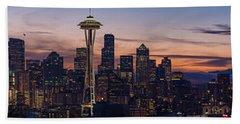 Seattle Cityscape Morning Light Beach Towel