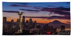Seattle Fog Sunrise Purples Beach Towel