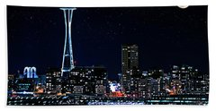 Beach Sheet featuring the photograph Seattle Skyline At Night With Full Moon by Valerie Garner