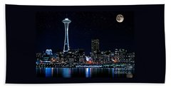 Seattle Skyline At Night With Full Moon Beach Towel