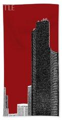 Seattle Skyline Columbia Tower - Dark Red Beach Towel