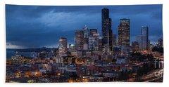 Seattle Skyline Evening Drama Beach Towel