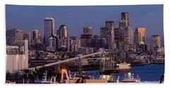 Seattle Skyline From Magnolia At Dusk Beach Towel