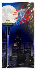 Seattle Skyline Beach Towel
