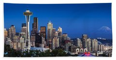 Beach Towel featuring the photograph Seattle Skyline Panoramic by Brian Jannsen