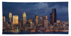Seattle Skyline Sunset Detail Beach Towel