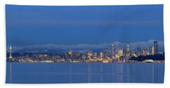 Seattle Surrounded By Blue Beach Towel by E Faithe Lester