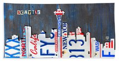 Seattle Washington Space Needle Skyline License Plate Art By Design Turnpike Beach Towel by Design Turnpike